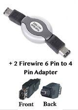 FIREWIRE 6-Pin Maschio Cavo Retrattile + 2 FIREWIRE 6-Pin Adattatore 4-Pin per Donna
