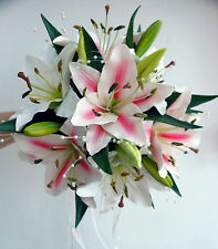 WEDDING BOUQUET POSY,REAL TOUCH PINK & IVORY LILLIES