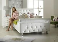 NEW Diamond Crystals King Size 5ft Leather Bed + Memory Mattress