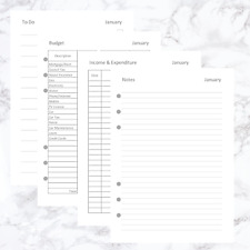 More details for a5 organiser filofax kikki compatible planner journal refill budget planner 1yr