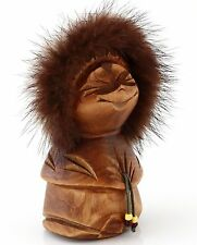 Hand Carved Wooden Girl Figurine Russian Kamchatka Folk Craft Ethnic Sculpture