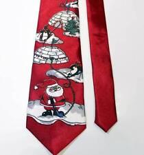 Christmas Men's Necktie Neck Tie Red Santa Penguins Reindeer Igloo by Fun Tyme