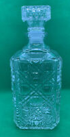 Vintage Liquor Decanter Square Glass Diamond Cut