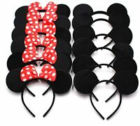 24pc Minnie Mickey Mouse Ears Headbands Black Disney Red Bow Birthday Party