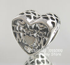 LOVE FOR MOTHER Authentic PANDORA Silver I LOVE YOU MOM Heart Charm/Bead NEW