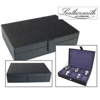 LEATHERSMITH OF LONDON® BLACK LEATHER 10 WATCH BOX STORAGE PURPLE INTERIOR