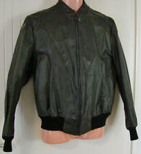 Vintage Olive green leather bomber jacket - black ribbed - lined - Size M
