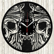 Skull Vinyl Record Wall Clock Decor Handmade 1792