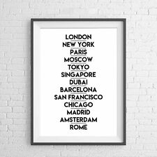 WORLD POPULAR FAMOUS CITIES BLACK POSTER PICTURE PRINT Sizes A5 to A0 **NEW**