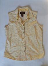 Aura Wrangler Womens Sleeveless Top Shirt Pearl Snap Yellow Paisley