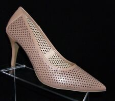 Cato tan pointed toe laser diamond shaped cut pump heels womens shoes 11