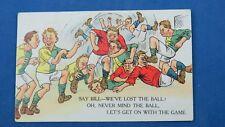 Vintage Football Comic Postcard 1923 Lost Ball Postmark Barton St David Taunton