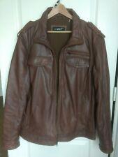 BLACK RIVET Mens leather Bomber Biker Jacket quilted Brown