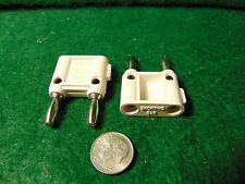 (2) Pomona MDP-S-9 White Double Banana Plug w/Shorting Bar NOS