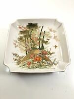 Japanese Sqare Plates Parakeet Birds And Trees bowls Ceramic White Orange Set 1