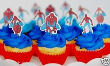 #602. Spiderman stand up edible wafer cupcake cake toppers birthday