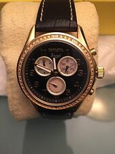 100% Auth Ladies Invicta Angel Chrono Watch Stainless Steel Leather Strap 0579