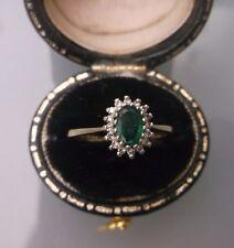 Women's Vintage 9ct Gold Diamond & TORMALINA dimensioni dell'anello J peso 1.6g timbrato