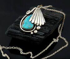 Vtg Sterling Silver Retro Navajo Turquoise Pendant Necklace