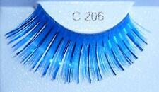 New False Eyelashes Blue Metallic Fake Lashes Costume Party Drag Queen Halloween