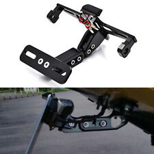 Aluminium Alloy Black Motorcycle License Plate Holder Bracket Folding Mount Kit