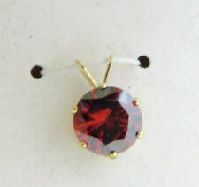 14k Yellow Gold Red Cubic Zirconia Large Solitare Necklace Pendant