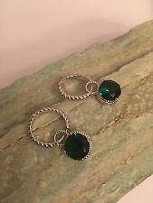 Round Cut Green Topaz Gemstone S-Silver PLATED Ear Clip Hook Earrings-E1103