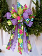 BIRTHDAY PARTY BOW EASTER BOW PURPLE & GREEN RIBBON WITH BALLOONS HANDMADE BOW