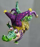 "Alligator Jester Mardi Gras Carnival Purple Green New Orleans Glass Ornament 5"""