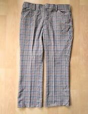Vtg 70s blue rust houndstooth check poly knit disco pimp bell bottom pants 38