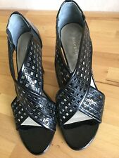 "Autograph Cross Over Black Patent High Heeled Sandals M&S 3.5"" Heel UK Size 4"
