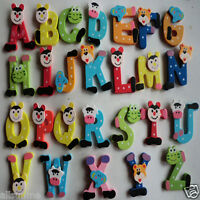 New 26pcs Funny Wooden Cartoon Alphabet A-Z Magnets Child Educational Toy