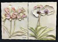 "Cherri Blum Resin 3D Set Of 2 Wall Plaques Orchids With Leaves 6.25"" By 4.5"