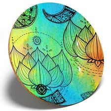 1 x Awesome OM Lotus Flower - Round Coaster Kitchen Student Kids Gift #8161