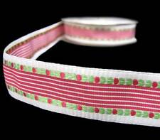 """5 Yds Red Green Woven Embroidered Flower Striped Fancy Free Ribbon 7/8""""W"""