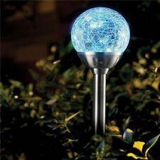 8 x in acciaio INOX colore modifica solare Crackled GLASS BALL LIGHT ICE ORB