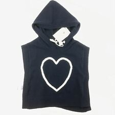 Girls size 0, Country Road, navy heart knit, hooded cape / poncho, NEW