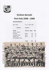 GRAHAM BARNETT PORT VALE 1958-1960 ORIGINAL HAND SIGNED MAGAZINE CUTTING