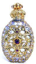 Glass Gold Perfume Bottle Jeweled Crystal Vintage Vanity Flacon Gift