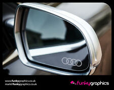AUDI RINGS A1 A3 A4 A5 LOGO MIRROR DECALS STICKERS GRAPHICS x3 SILVER ETCH