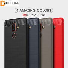 For Nokia 1 2 3 5 6 7 8 9 Carbon Fiber Soft TPU Heavy Duty Armor Case Cover Skin