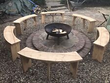 1 X 4 Ft Curved Garden Bench Reclaimed Timber Fire-pit Social Circle Hand Made