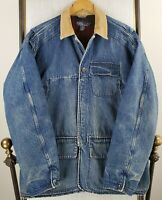 VTG POLO RALPH LAUREN Large Denim Hunting Wool Lined Chore Coat Game Pouch Mens