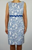 Phase Eight White Blue Dress Embroidered Summer Holiday Wedding Plus Size 16 AD