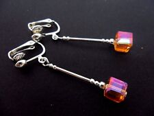 A PAIR OF SILVER PLATED AMBER COLOUR CUBE BEAD CLIP ON EARRINGS. NEW.