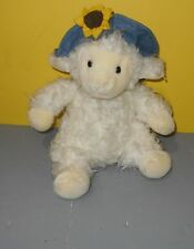 "10"" Pier 1 Imports Lamb Sheep Plush Stuffed Animal Lovey Toy Denim Flower Hat"