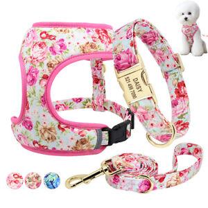 Floral Personalized Dog Collar & Reflective Soft Mesh Vest Harness & Walk Leash