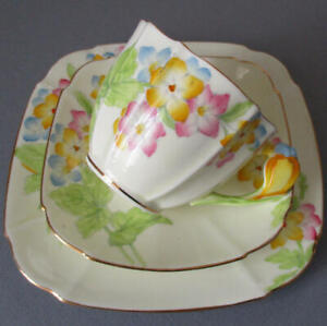 Antique PARAGON English Bone China Trio Cup Saucer Plate FLOWER Handle Star Mark