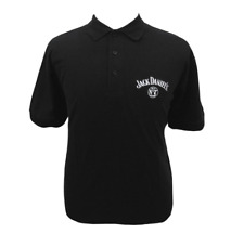 Jack DANIELS Mens MEDIUM Black AND WHITE Short Sleeve Golf Polo Shirt GRAY