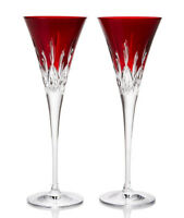 Waterford Crystal Lismore Pops Red Champagne Flutes Set of 2 #40026611 New Boxed